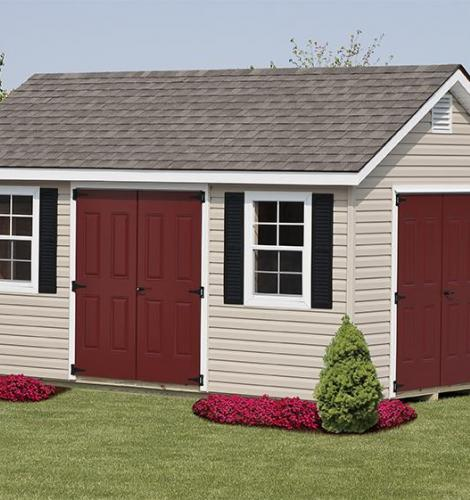 Tan man cave with red doors