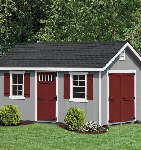 Double painted shed with drip edge and fiberglass shingles