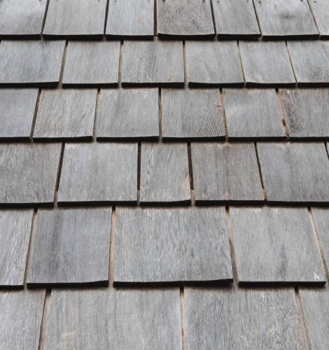 A closeup of cedar roof shingles