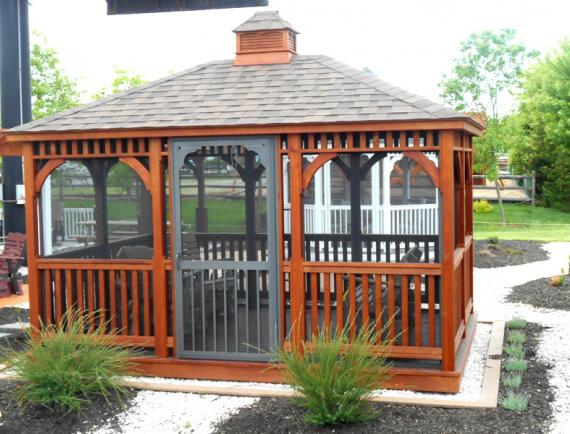 Brown wood rectangle gazebo with cupola
