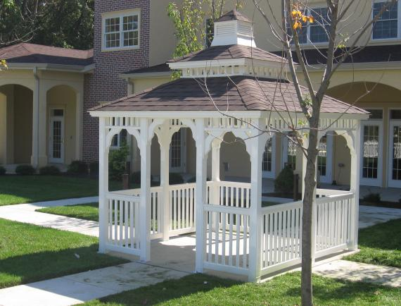 White vinyl rectangle gazebo with cupola