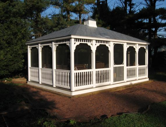 White vinyl rectangle gazebo with gray roof